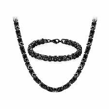 "8mm Mens Stainless Steel Byzantine Chain 8.5"" Bracelet +24"" Necklace Jewelry Set"