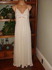 "Ladies/Womens Vintage Shadowline Long Chiffon Nightgown - Bust to 32"" - White"
