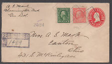 *Us 20th Century Registered Cover, Sc# 405 + 415, Bloomington, In 1915 or 1921?