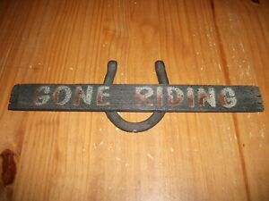 Gone Riding Horseshoe Rustic Western Wood / Cast Sign