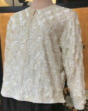 Vintage Cream White Sequinned Jacket Sz Large