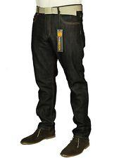 Hombre Vaquero Corte Recto & Pierna Estilo Simple Pantalones Negros Azul 30-42