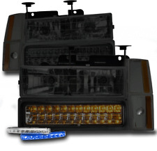 1988-1993 CHEVY GMC C/K CRYSTAL SMOKE HEADLIGHTS +LED BUMPER+CORNER+BLUE DRL KIT