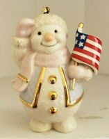 "2003 Lenox Snowman Patriotic Saluting Flag Figurine 4"" Tree Hanging Ornament"