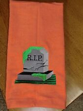 Embroidered Velour Hand Towel - Halloween - R.I.P. Headstone - Orange Towel