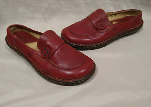 Born Red Leather Casual Slip-On Clogs/Mules/Shoes--Cushion/Comfort--Sz 9.5 (41)