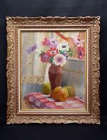 Germaine Madeleine Chapuis (XIX - Xx)Bouquet of Flowers Frame Original Art Deco