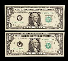 2 UNC 2017 Federal Reserve Star Notes United States Richmond Consecutive Dollar