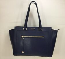 Furla Ginevra Handled Navy Blue Saffiano Leather Tote Satchel NWT