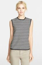 NWT Tory Burch Monique Knit Shell Brick Tuck Stitch Black White $175 – XL