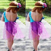 Kids Baby Girls Mermaid Swimmable Bikini Bathing Suit Beach Fancy Dress Costume