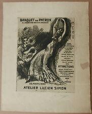 Gravure Originale YVES BRAYER Banquet Patron Lucien Simon 1930+Dessin Hambourg