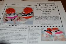 Tot Toppers Hat Knitting Pattern Jimmy & Millie Sock Monkey  Newborn to Adult
