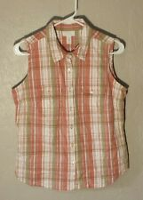 Charter Club Golf Collection Top Size 10 Salmon Olive Plaid Sleeveless Euc