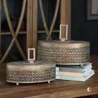 TWO NEW DECORATIVE OVAL STORAGE BOXES AGED TEXTURED METAL FINISH MODERN LOOK
