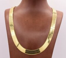 11mm Flexible Herringbone Chain Necklace Solid 14K Yellow Gold Clad Silver 925