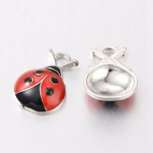 Pack of 10 x Red/Black Enamel & Alloy 18mm Charms (LADYBUG)