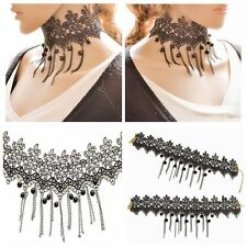 Fashion Gothic Black Lace Retro Choker Collar Flower Pendant Necklace Jewelry