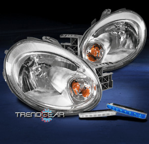 FOR 2003-2005 DODGE NEON REPLACEMENT CHROME HEADLIGHT HEADLAMP +BLUE LED DRL KIT