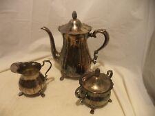 "Silver Plate Tea Pot-9 1/2"" Tall, Creamer & Sugar"