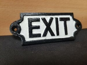 NEW ** VINTAGE STYLE **BLACK & WHITE  CAST IRON SIGN EXIT GATE DOOR