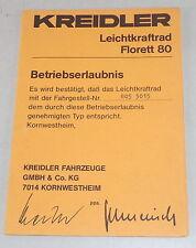 Betriebserlaubnis / Datenblatt / Typenschein Kreidler Leichtkraftrad Florett 80