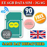 6GB EE Pre-Loaded DATA 4G PAYG Trio SIM Card For Mobile Broadband Dongles WiFi