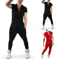 Herren Mode Hose Overall Slim Fit Tracksuit Jumpsuit Skinny Playsuit Joggings