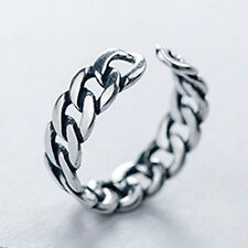 Silver & Black Retro Chain Ring Opening Adjustable Ring Women Men Jewelry