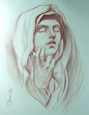 The Virgin Mary Drawing in Colored Pencil - Original Jesus / Christian Artworks