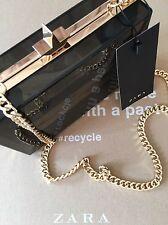 ZARA Box Clutch Bag Minaudiere Handbag With Long Chain Strap