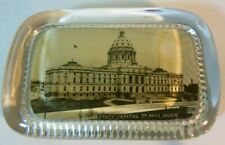 St Paul Minnesota Capital Building glass PAPERWEIGHT Vintage Desk Library