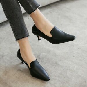 Ladies Kitten Heel Pointy Toe Elastic Pumps Sexy Office Party Casual Trend Shoes