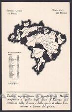 MILANO FIERA 1931 - 01 PADIGLIONE del BRASILE BRASIL CARTA GEOGRAFICA Cartolina