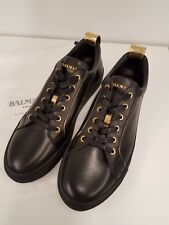 NEW Balmain Mens Black Gold Perforated Leather  Sneakers EUR 45 US 12 $890