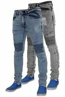 Mens Skinny Ripped Jeans Super Slim Fit Stretch Denim Cotton Zip Fly Biker Pants