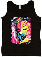 Ladies tank top Marilyn Monroe blacklight design womens cool edm rave tee shirt