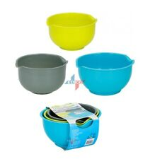 3 PCS MIXING BOWLS PLASTIC NON SLIP BASE POUR LIP COOKING BAKING SALAD KITCHEN