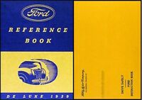 1939 Ford Deluxe Car Owners Manual with Envelope 39 Owner Reference Guide Book