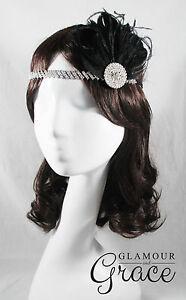 Charleston vintage gatsby 1920s flapper costume black feather clip headpiece