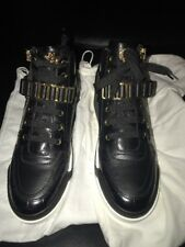 Versace Gold Chain Medusa Sneakers IT41.5 Black White LeatherStrap Brand New
