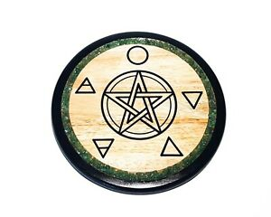 Altar tile, table with pentagram and elements design and gemstone decor