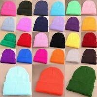 Men's Women Knit Ski Cap Hip-Hop Blank Color Winter Warm Unisex Beanie Hat Wool