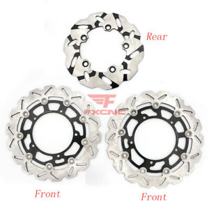For Yamaha YZF R1 2007-2014 CNC Motor 2pcs Fload + 1 Front Rear Brake Disc Rotor