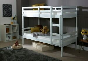 Bunk Bed Kids Childrens Bed White Wooden with Mattress Option