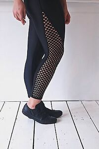 midnight leggings black with pothole mesh panel lycra gym fitness activewear