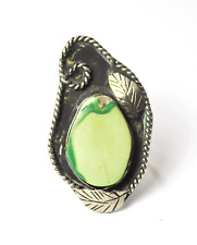 Ring Floral 46mm Size 8.75 Sterling Silver Citron Magnesite Large Handcrafted