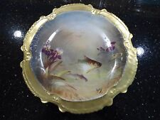 LRL Limoges France Hand Painted Porcelain Plate Fish, Iris, Gold Trim Muville