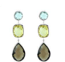 14K White Gold Earrings With Blue, Lemon and Smoky Topaz Gemstones