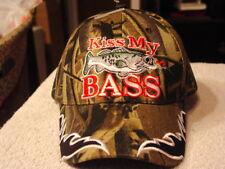 BASS KISS MY BASS BASEBALL CAP HAT ( CAMOUFLAGE )